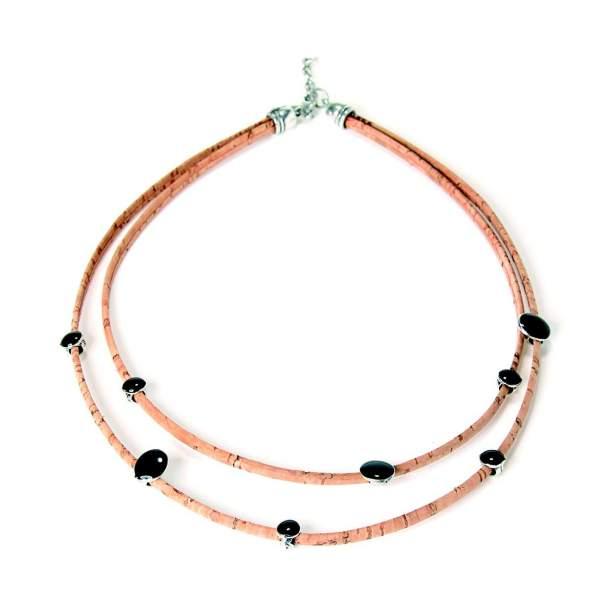 Halskette mit kleinen Steinchen aus Korkband kaufen