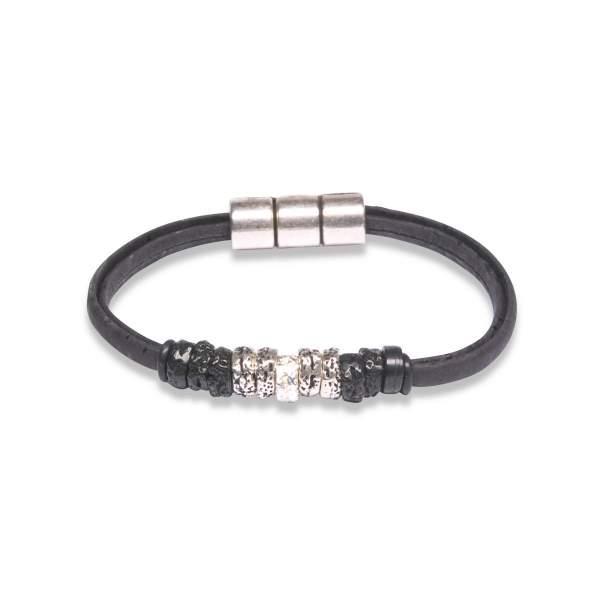 Korkleder Armband schwarz