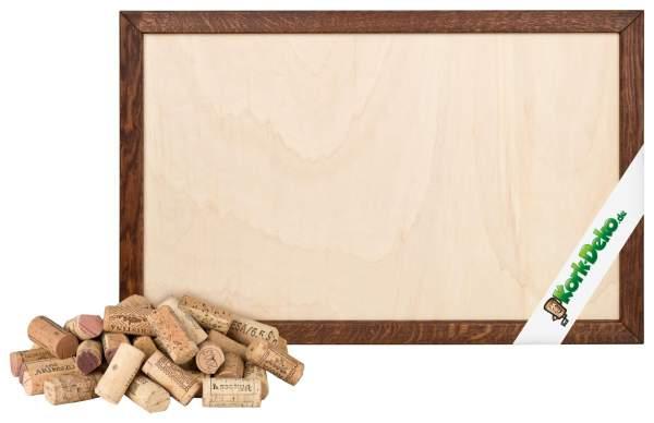 Pinnwand aus alten Korken selber bauen. DIY-Set: geschnittene Korken + Holzrahmen Eiche dunkel 90x60 cm