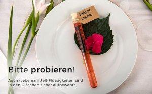 Bitte probieren! (Lebensmittel)-Flüssigkeiten im Reagenzglas