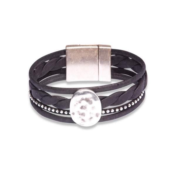 breites Armband aus Korkleder-Riemen (schwarz)