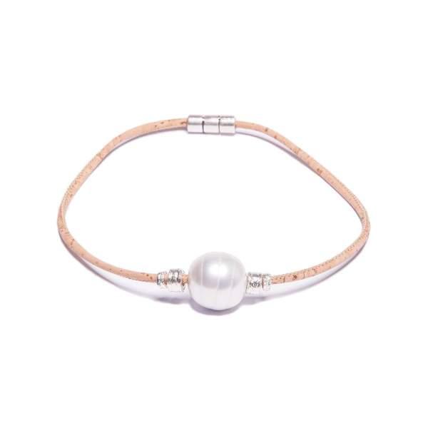 Halskette aus Kork mit einer hellen Perle kaufen