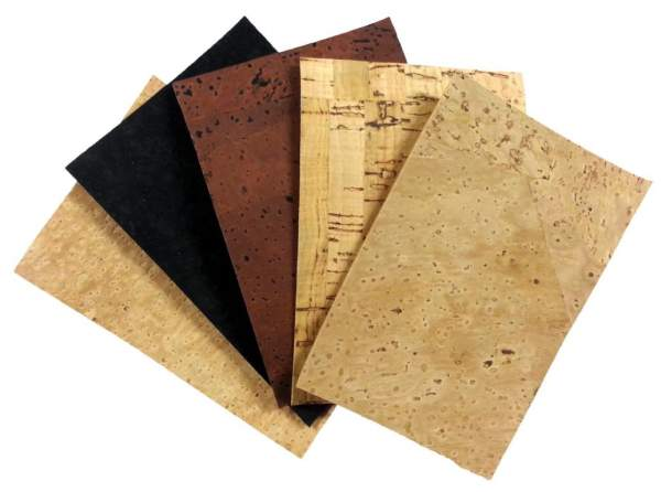 Korkleder / Korkstoff & Korkpapier als kleine Muster für zu Hause