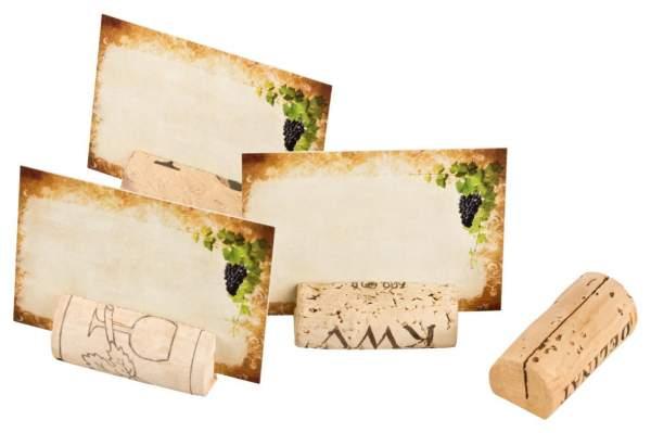 Tischkarten aus Weinkorken