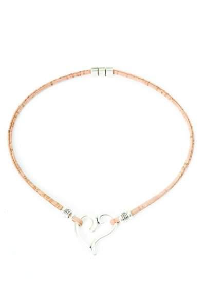 Halskette aus Kork mit Herz-Anhänger