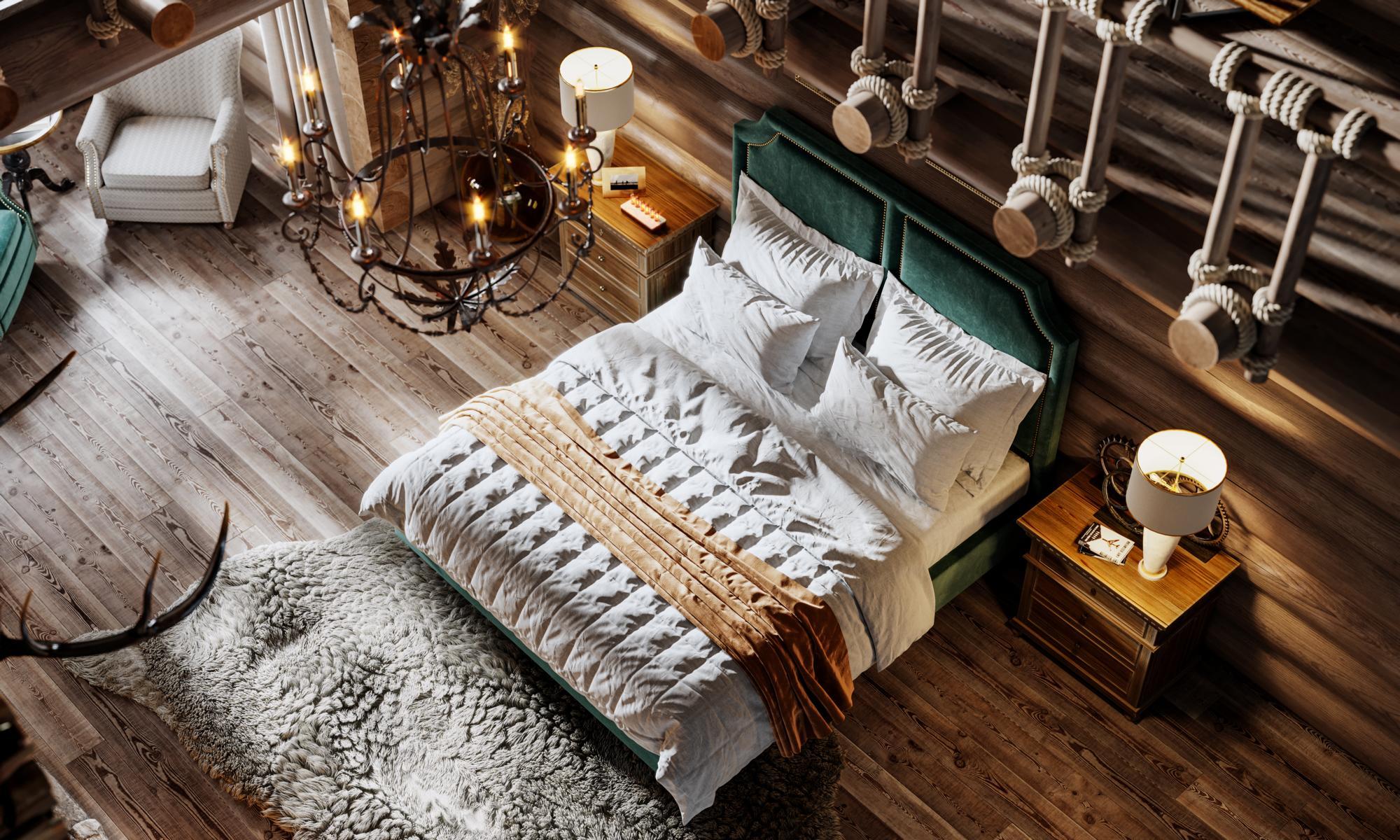 Luxusschlafzimmer mit Landhausdielen