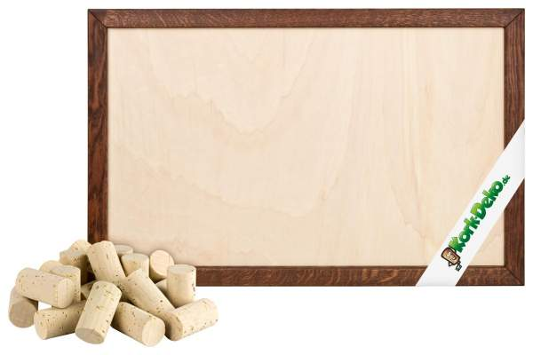 Pinnwand aus Korken selber bauen. DIY-Set: Korken + Holzrahmen Eiche dunkel 90x60 cm