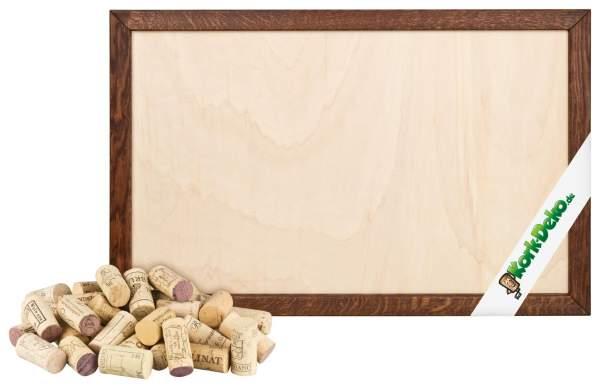 Pinnwand aus gebrauchten Korken selber bauen. DIY-Set: Korken + Holzrahmen Eiche dunkel 90x60 cm