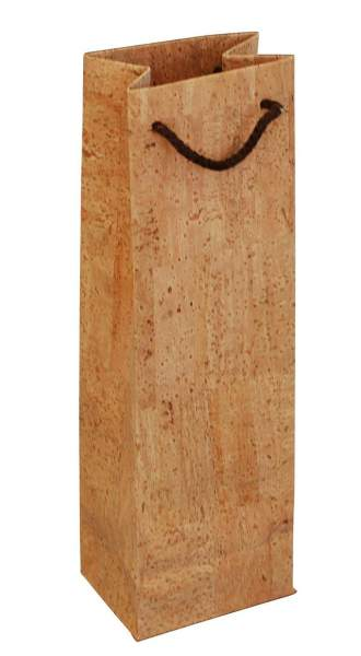 Wein-Tragetasche (Geschenkverpackung) aus Korkpapier für eine Weinflaschen (Weingeschenk) kaufen
