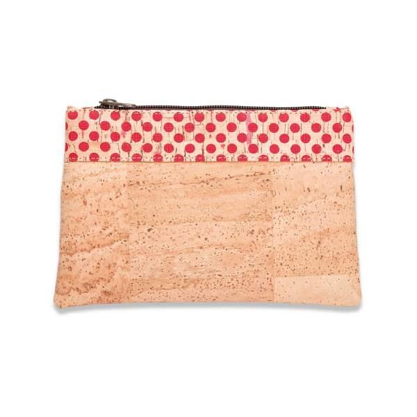 Kleines Etui aus Kork-Stoff / Korkleder (Etui, Mäppchen, kleine Kork-Tasche) hellbraun/rote Punkte