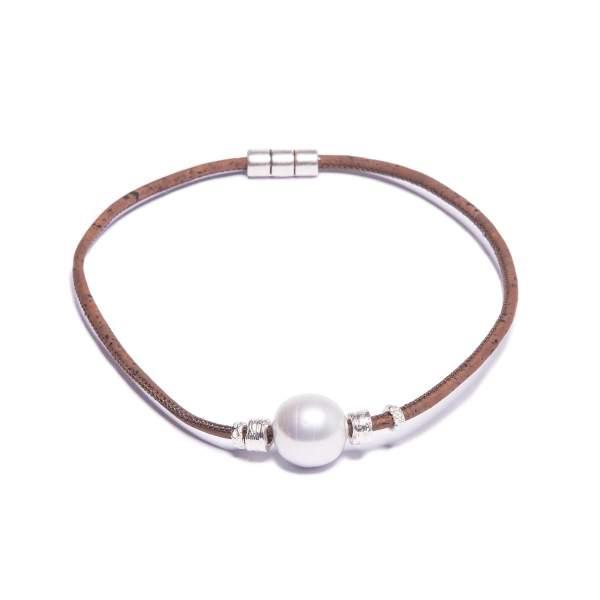 Korkhalskette mit einer hellen Perle kaufen