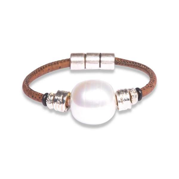 Korkleder Armband mit Perle