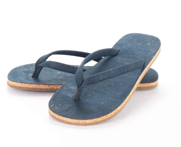 Blaue Badeschuhe (Zehentrenner) aus Kork kaufen, Größe: EU 38 | US 7.5