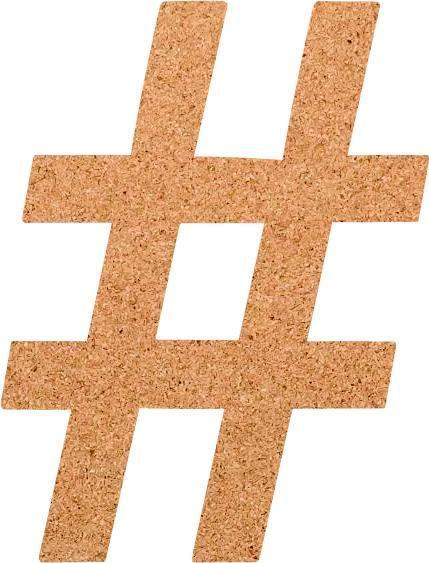 Kork-Pinnwand Hashtag
