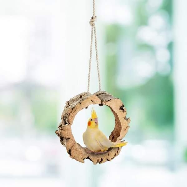 Ring aus Korkrinde als Vogelschaukel