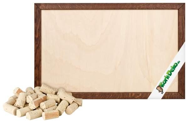 Pinnwand aus Weinkorken selber bauen. DIY-Set: geschnittene Korken + Holzrahmen Eiche dunkel 90x60 cm