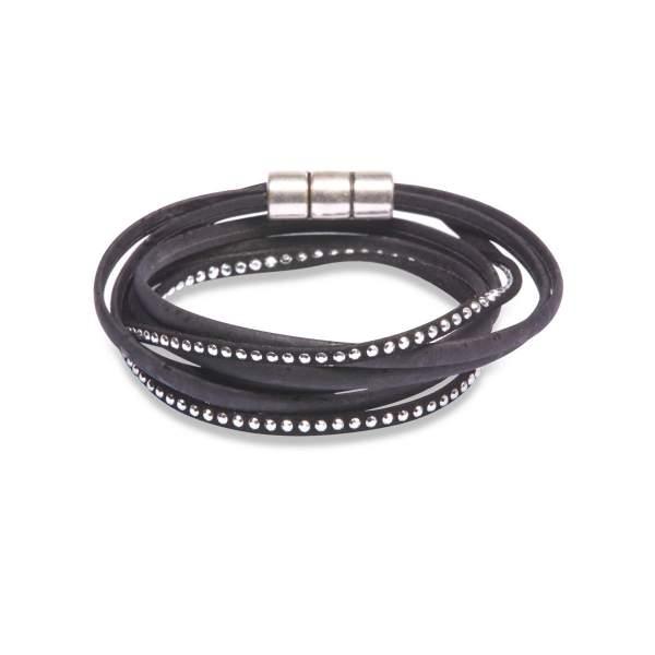 schwarzes Wickelarmband aus Korkleder kaufen
