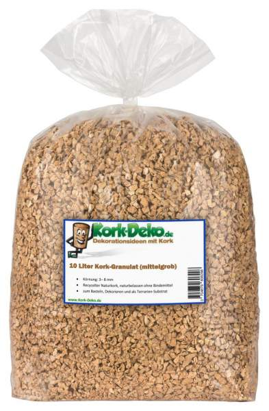 Korkgranulat mittelgrob (3-8mm Körnung), 10 Liter, Kork-Granulat /-Schrot /-Schotter /-Splitter /Kork gemahlen/granuliert