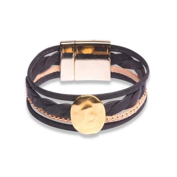 breites Armband aus Korkleder-Riemen (schwarz / hellbraun)