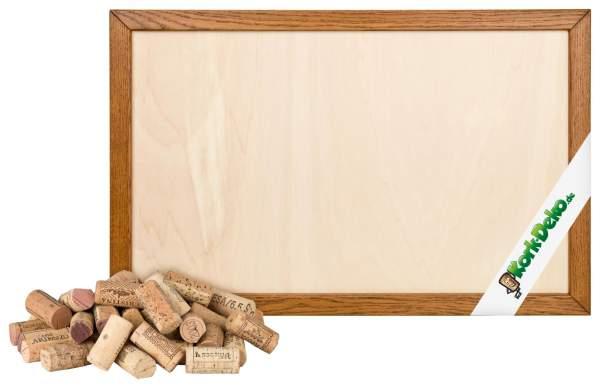 Pinnwand aus Korken bauen. DIY-Set: geschnittene Korken + Holzrahmen Eiche hell 90x60 cm