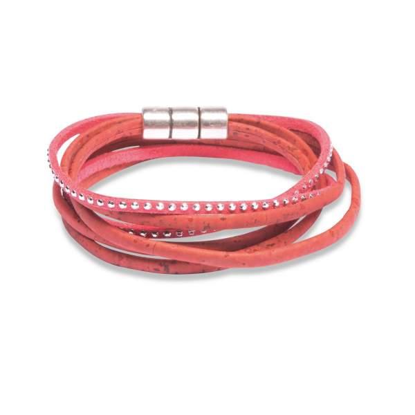 rotes Wickelarmband aus Korkleder kaufen